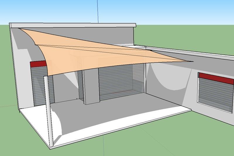 Napvitorla tervezés családi házhoz