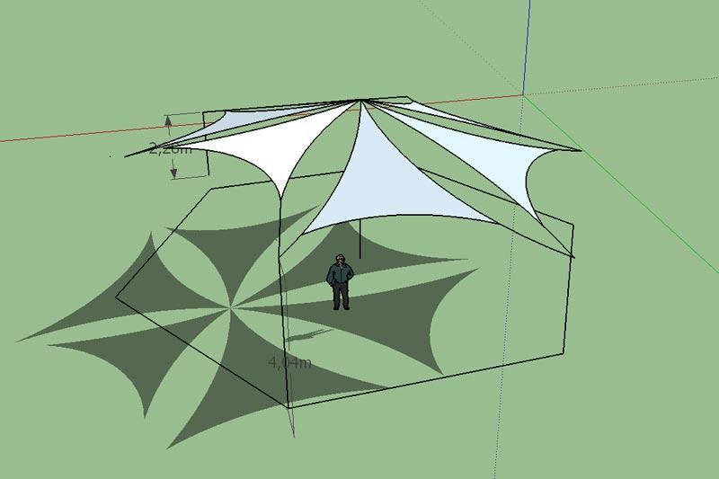 Napvitorla tervezés komplex alakzattal